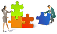 Graphic of two people putting together four puzzle pieces, which depict Powertek's four core business areas.